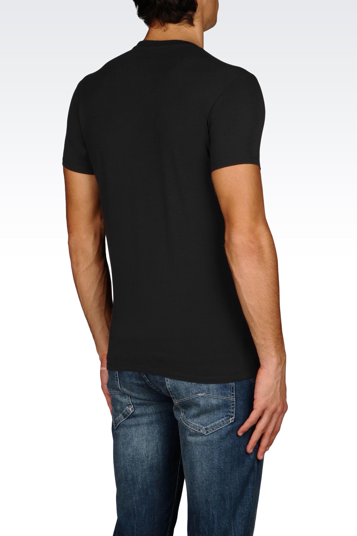 armani jeans jersey t shirt in black for men lyst. Black Bedroom Furniture Sets. Home Design Ideas