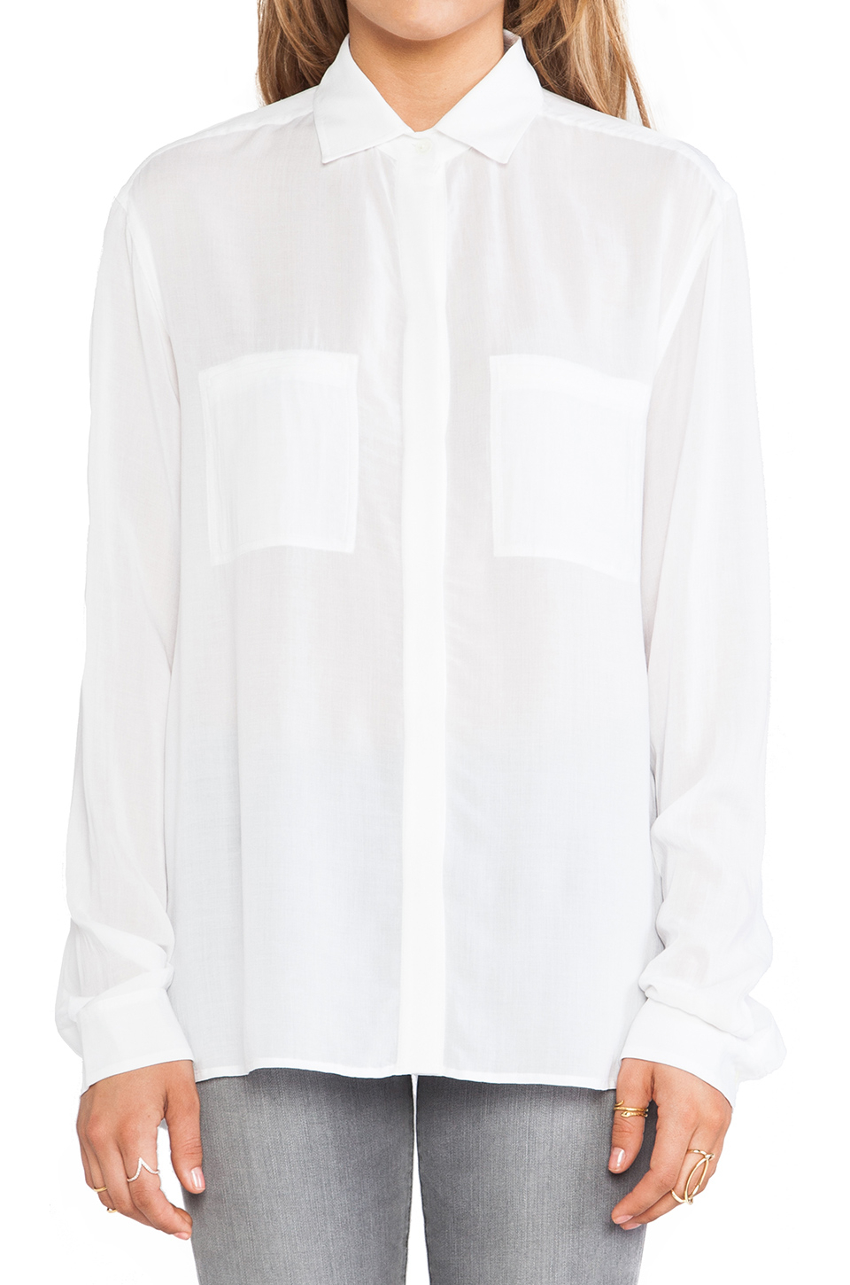 Vince Long Sleeve Button Up Shirt in White | Lyst