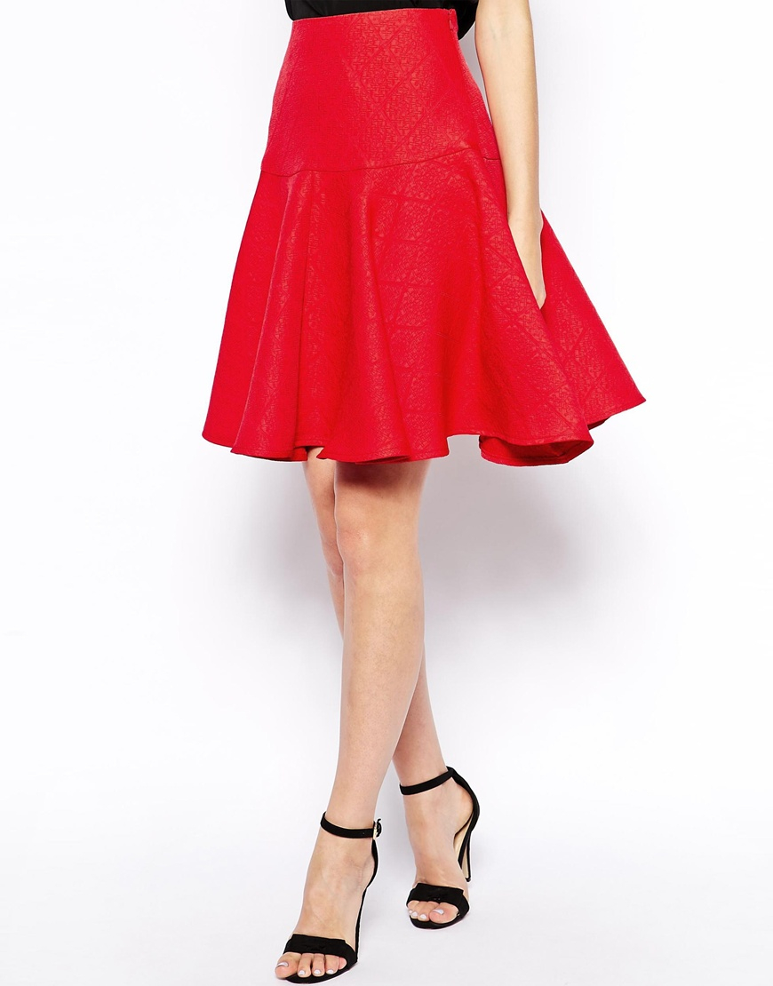 asos midi skirt in bright jacquard with drop peplum hem in