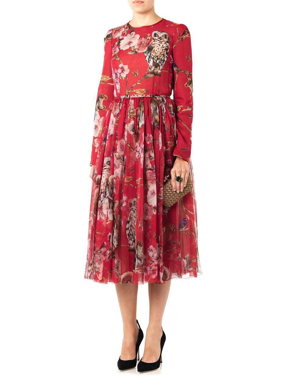 Lyst Dolce Amp Gabbana Floral And Animalprint Silk Dress