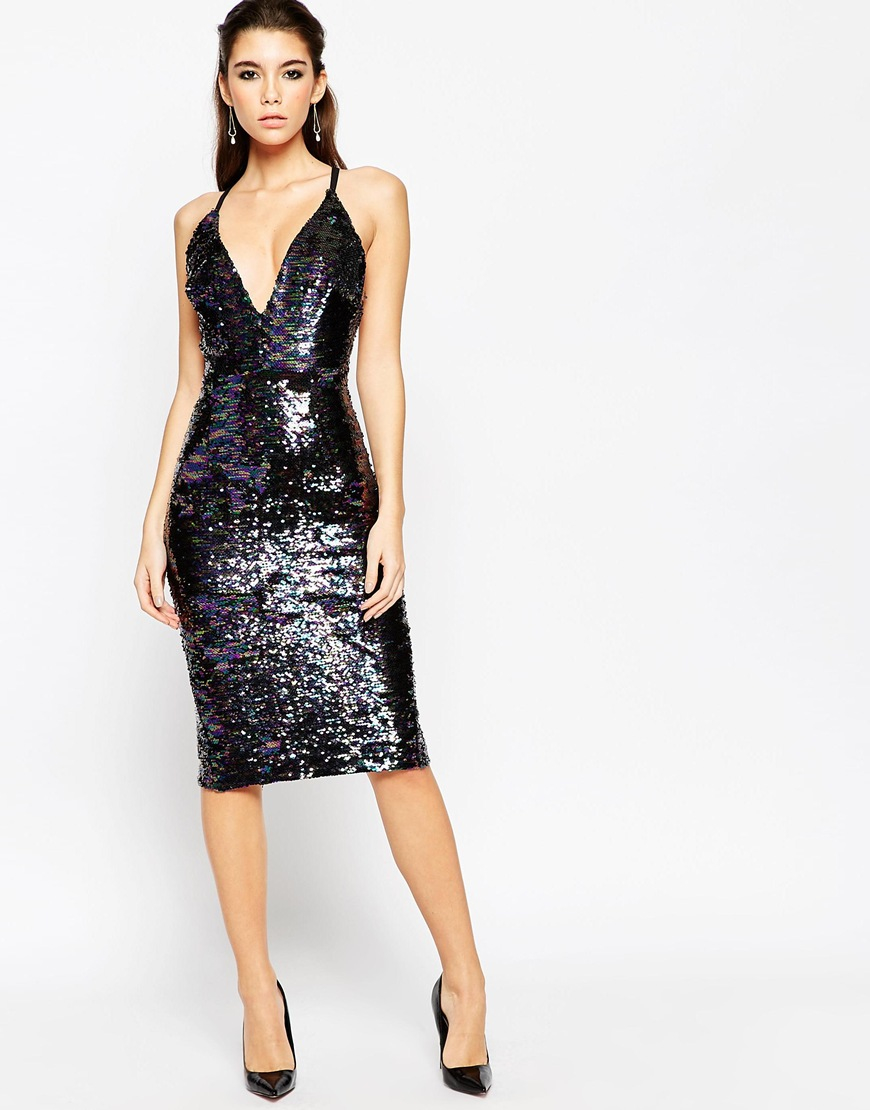 Lyst Asos Night Deep Plunge Sequin Midi Dress