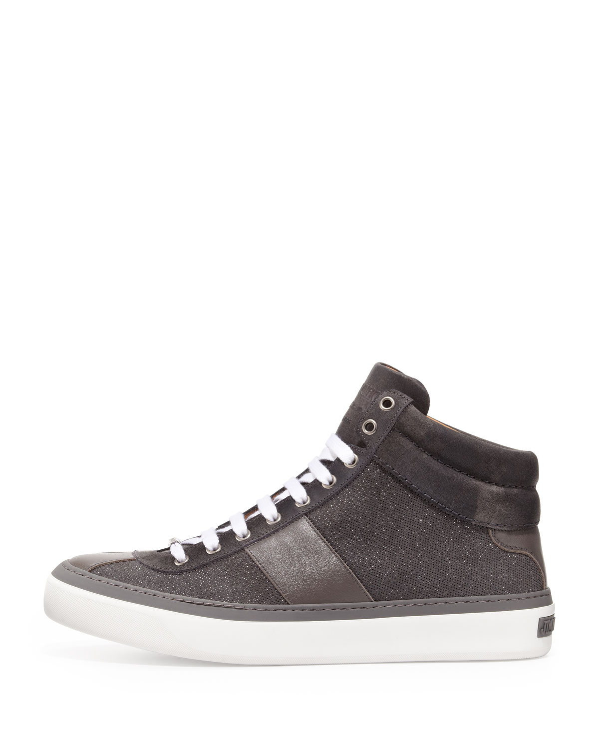 252a91f6ae4f Lyst - Jimmy Choo Belgravia Glitter-suede Hi-top Sneaker in Gray for Men
