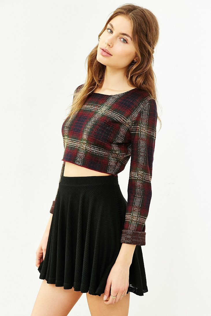 Lyst Unif Nevermind Cropped Sweater In Red