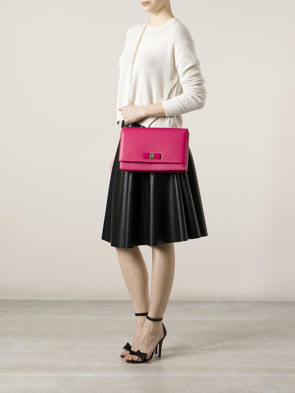 lyst ferragamo ginny shoulder bag in pink