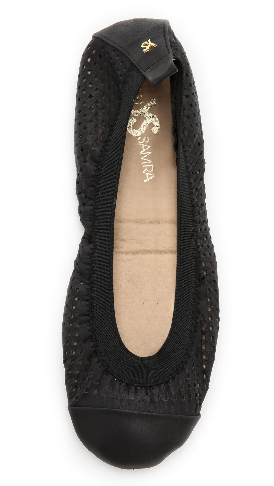 c670053016c Lyst - Yosi Samra Samantha Perforated Ballet Flats Black in Black