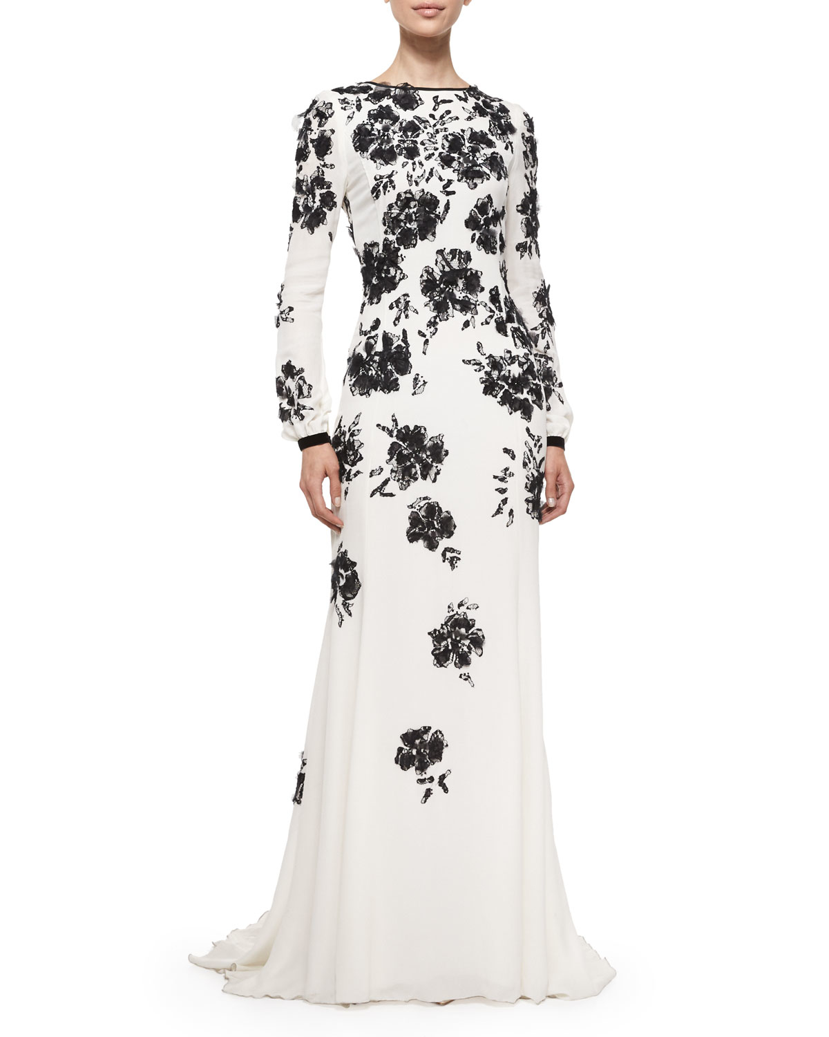 Lyst - Oscar De La Renta Long-Sleeve Floral-Embellished Gown in Black