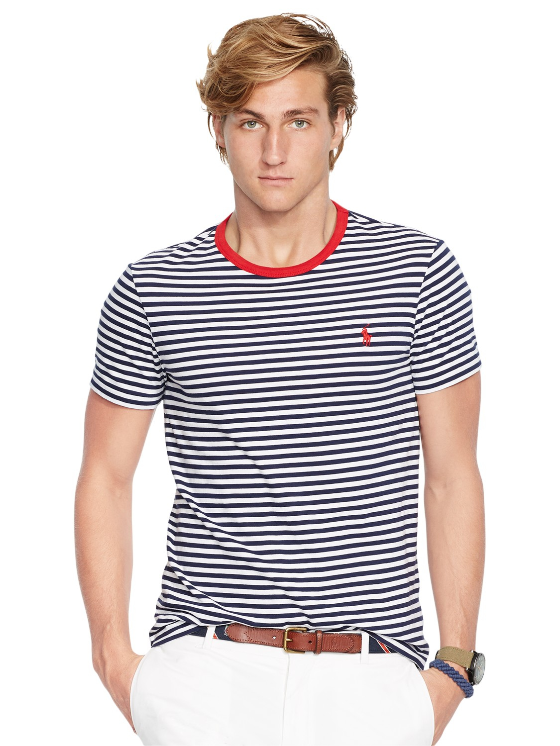Lyst polo ralph lauren custom fit stripe t shirt in for Custom fit t shirts