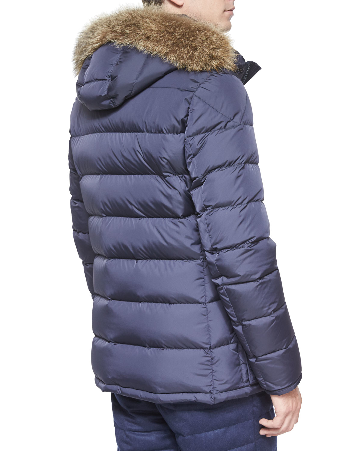 moncler cluny nylon puffer jacket with fur hood navy
