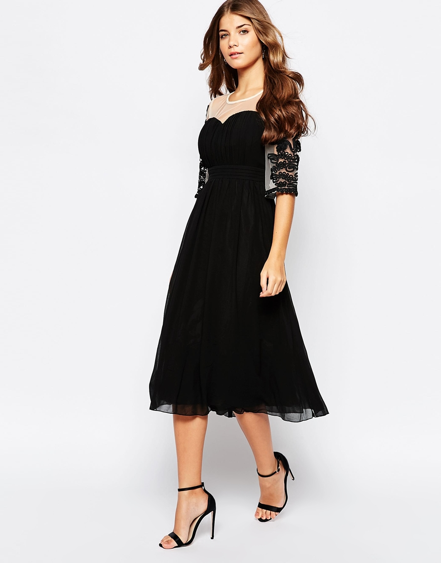 2abe972822 Lyst - Little Mistress Midi Skater Dress With Embroidered Mesh ...