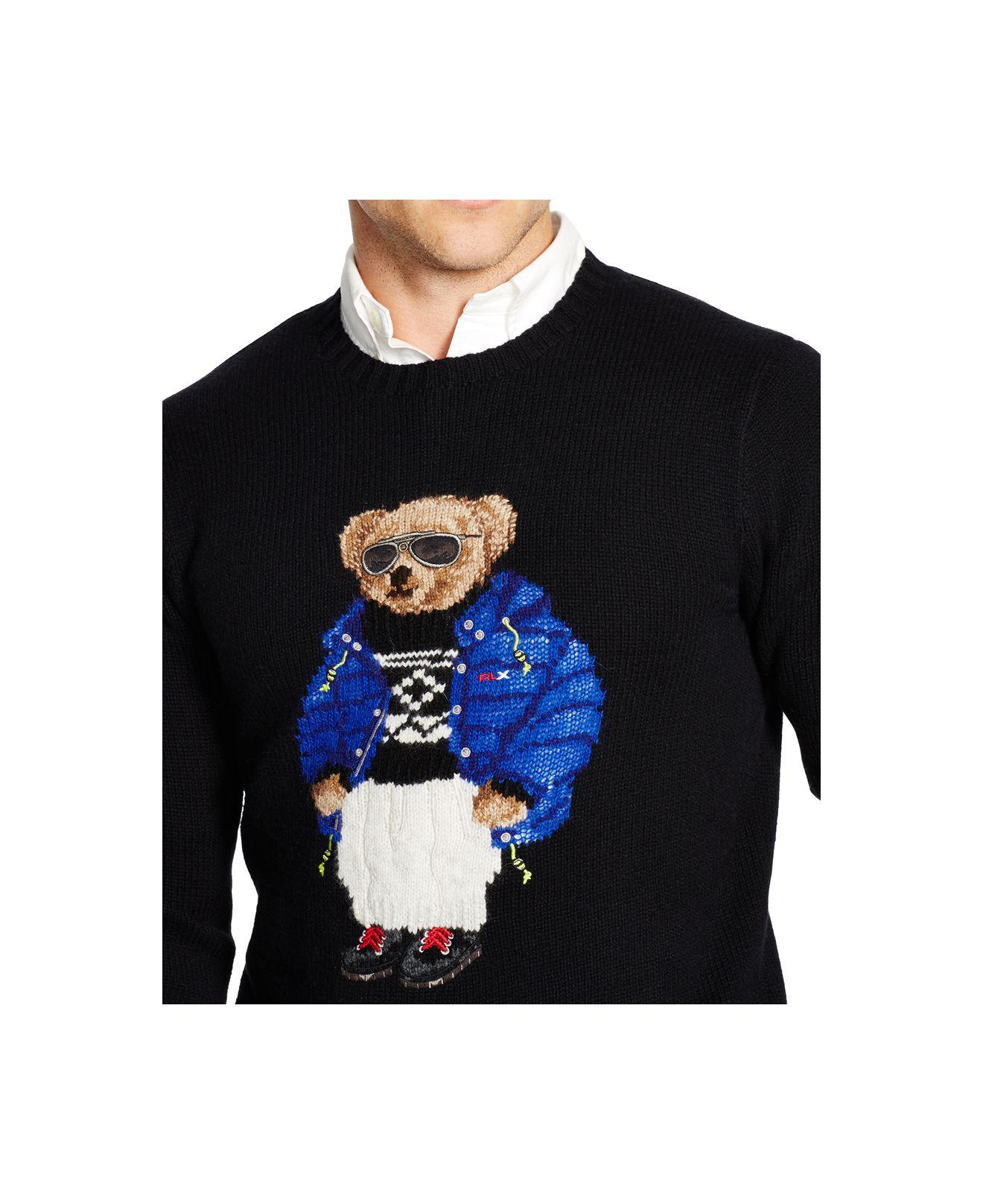 Lyst Polo Ralph Lauren Polo Bear Wool Blend Sweater In Black For Men