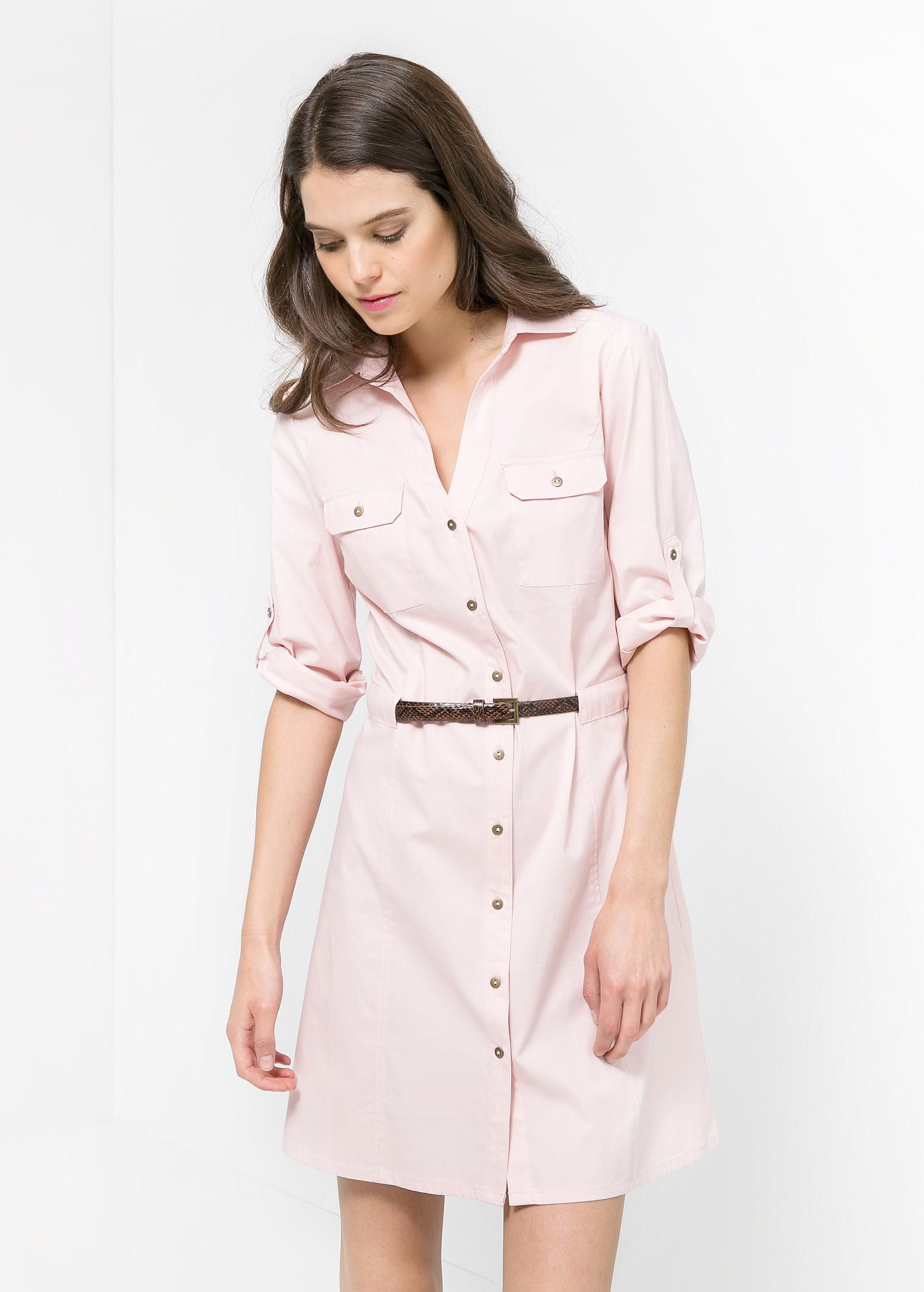 Mango Belted-Waist Shirt Dress in Pink  Lyst