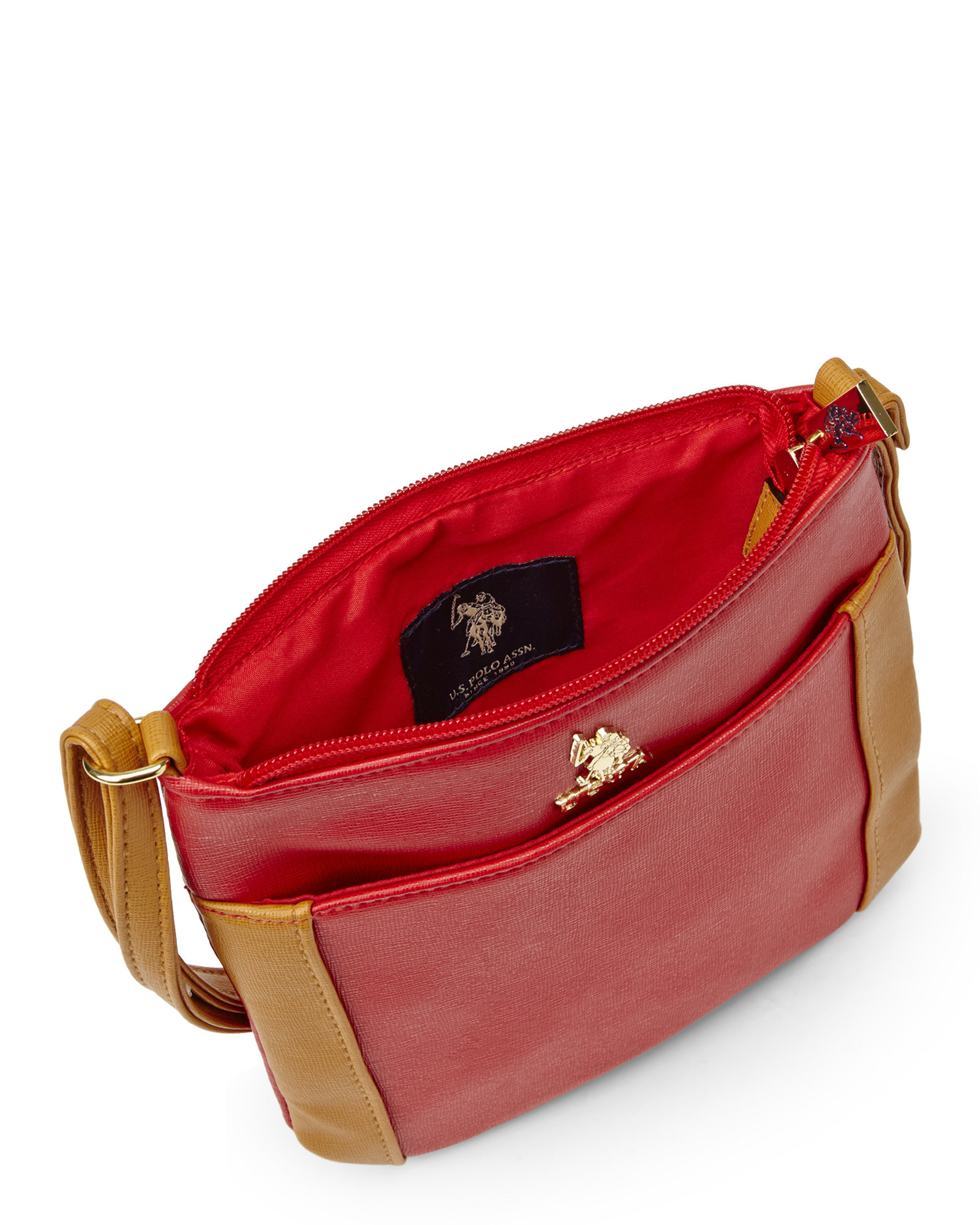 Lyst - U.S. POLO ASSN. Red   Cognac Greenwich Crossbody Bag in Red 2d3f71d2e4cd7