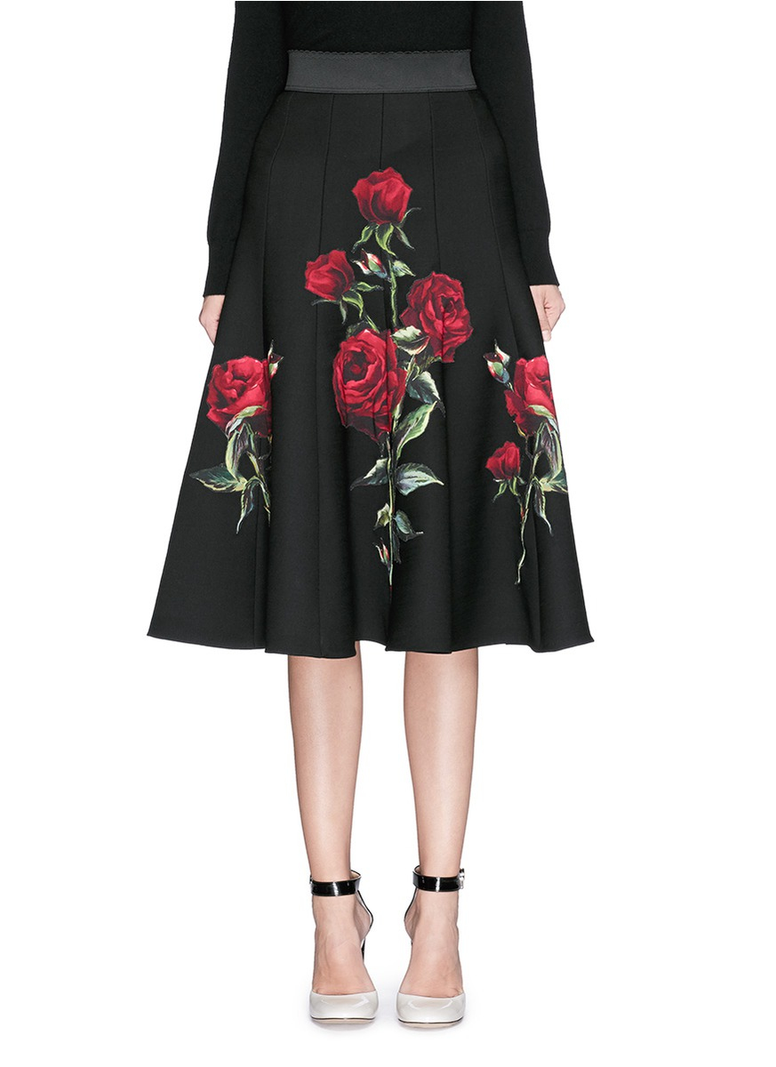 Black Rose Applique Crepe Dress