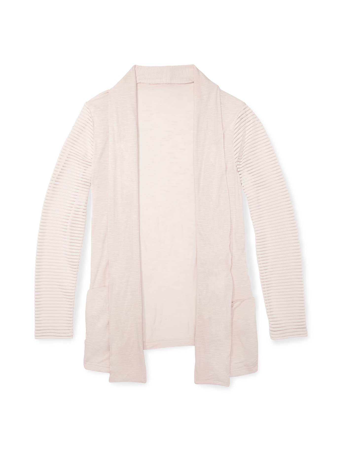 Calvin klein White Label Sheer Stripe Open Front Cardigan in Pink ...