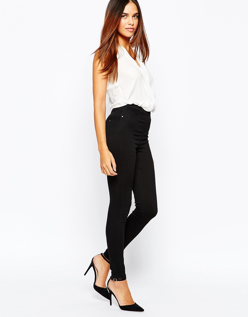 Warehouse Zip Side High Rise Skinny Jeans in Black | Lyst