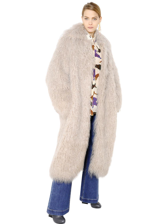 Stella Mccartney Crimped Faux Fur Coat In White Lyst