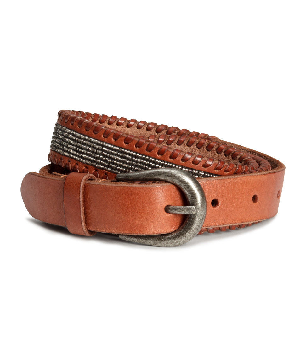 h m beaded leather belt in brown lyst