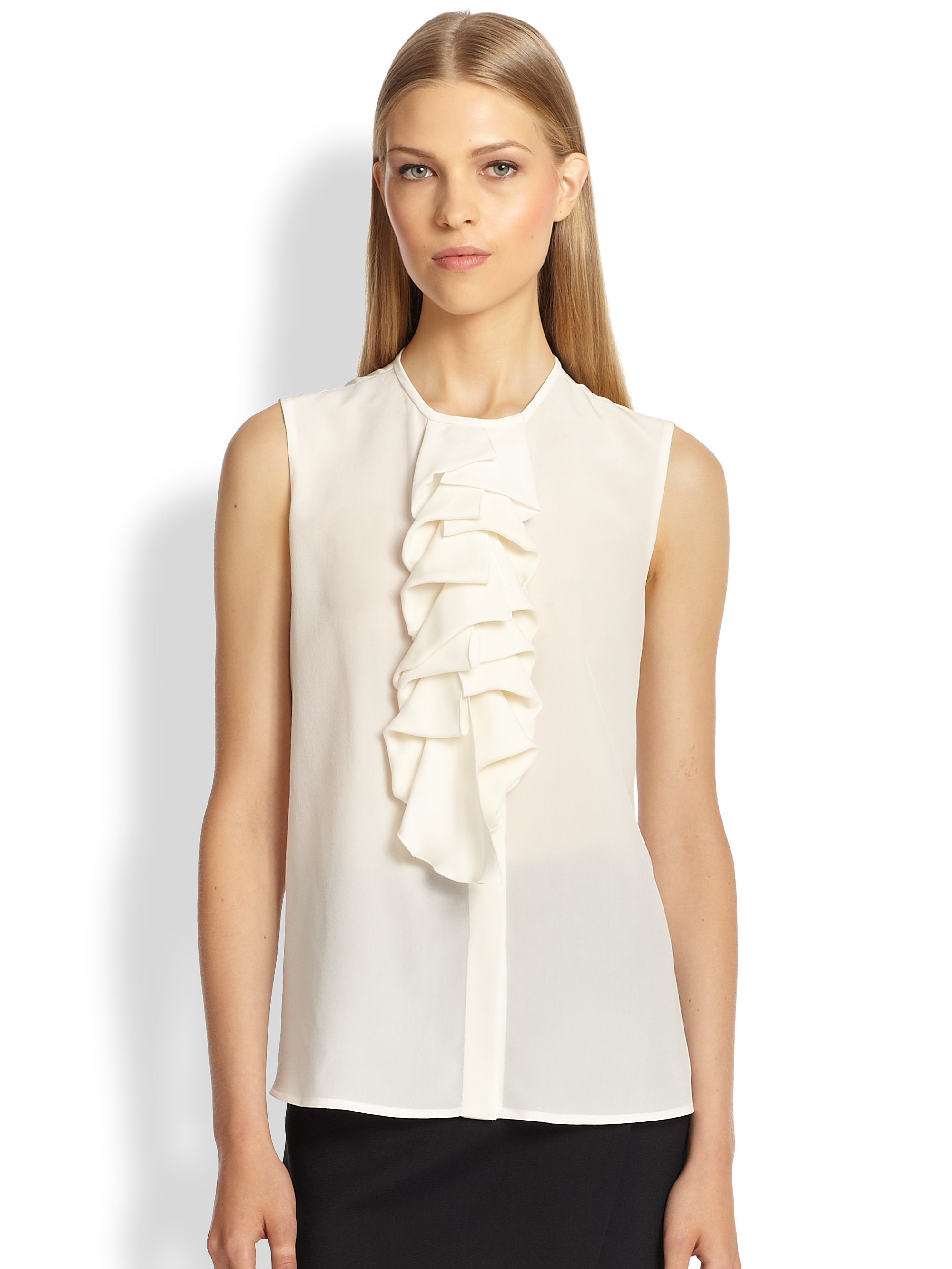 White Silk Sleeveless Blouse 42