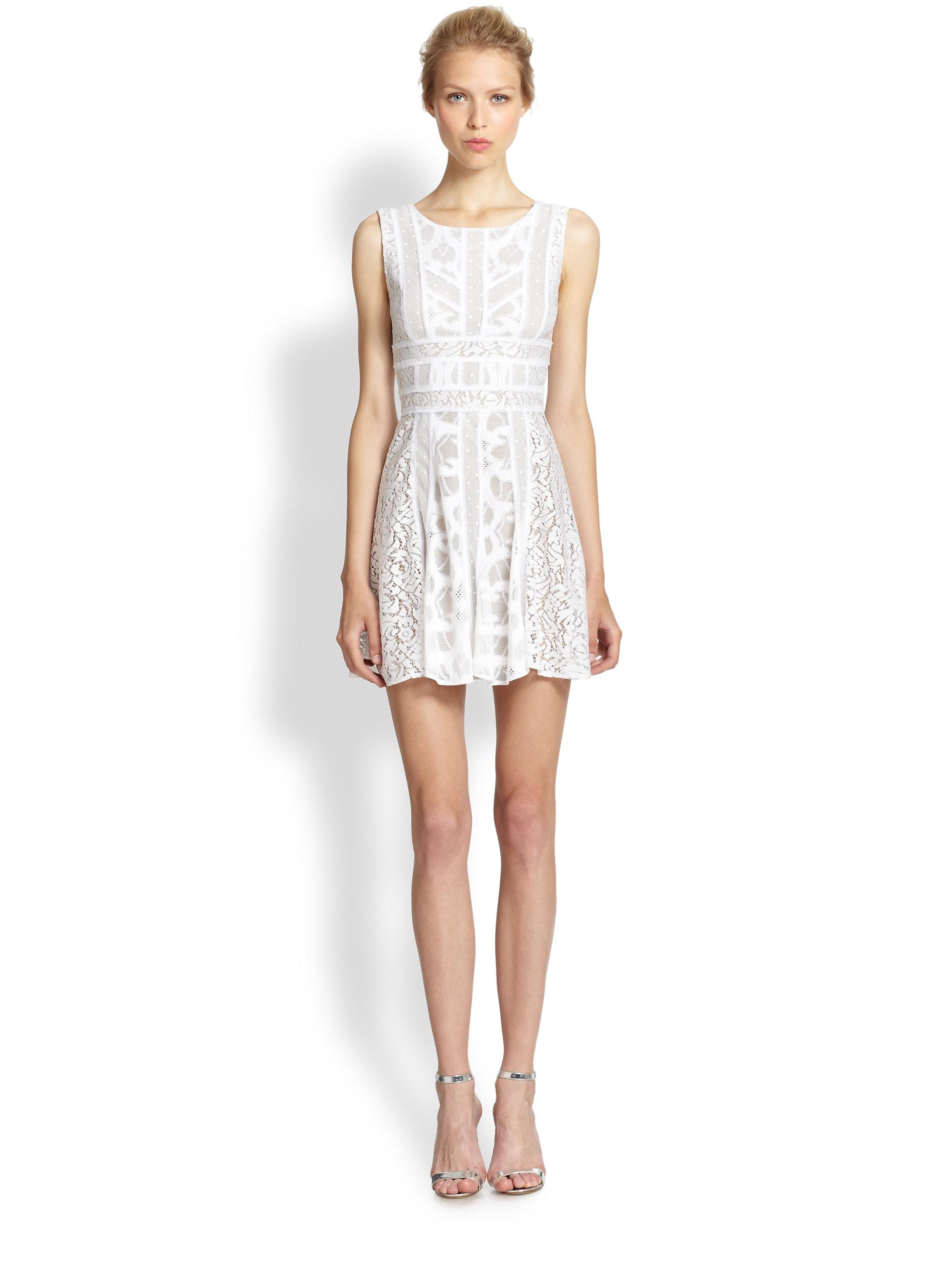 Lyst Bcbgmaxazria Lace Fit Amp Flare Dress In White