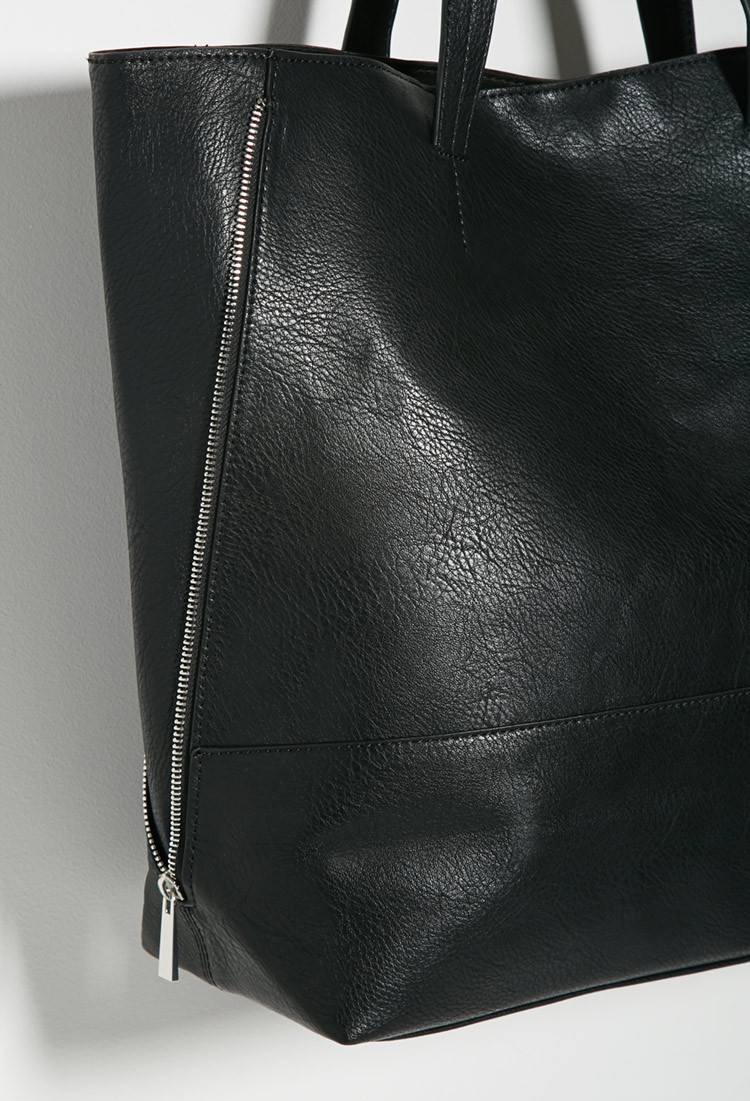 7eef93dcbcfc0e Forever 21 Zippered-side Faux Leather Tote in Black - Lyst