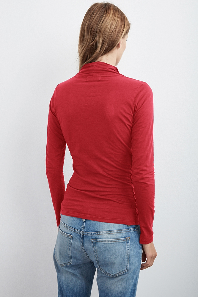 Velvet by graham & spencer Meri Wrap Front Top in Red | Lyst