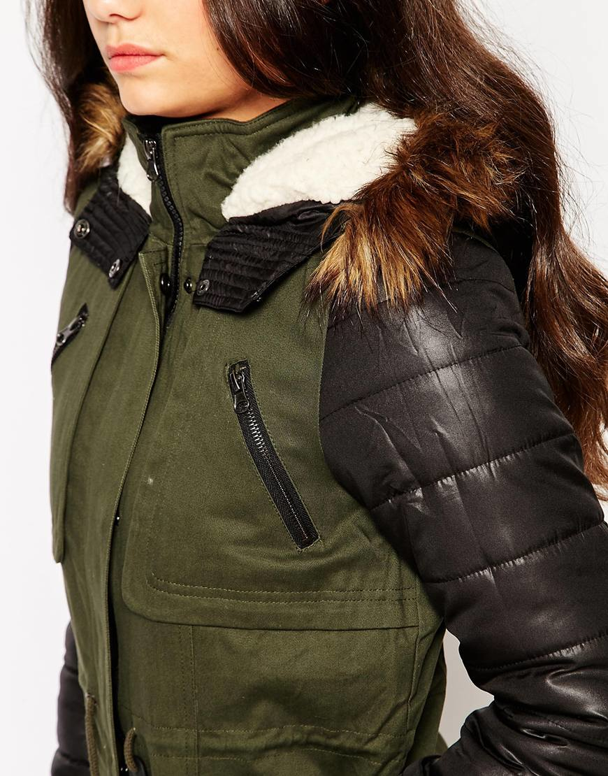 Vero moda Parka With Faux Leather Sleeves in Green | Lyst