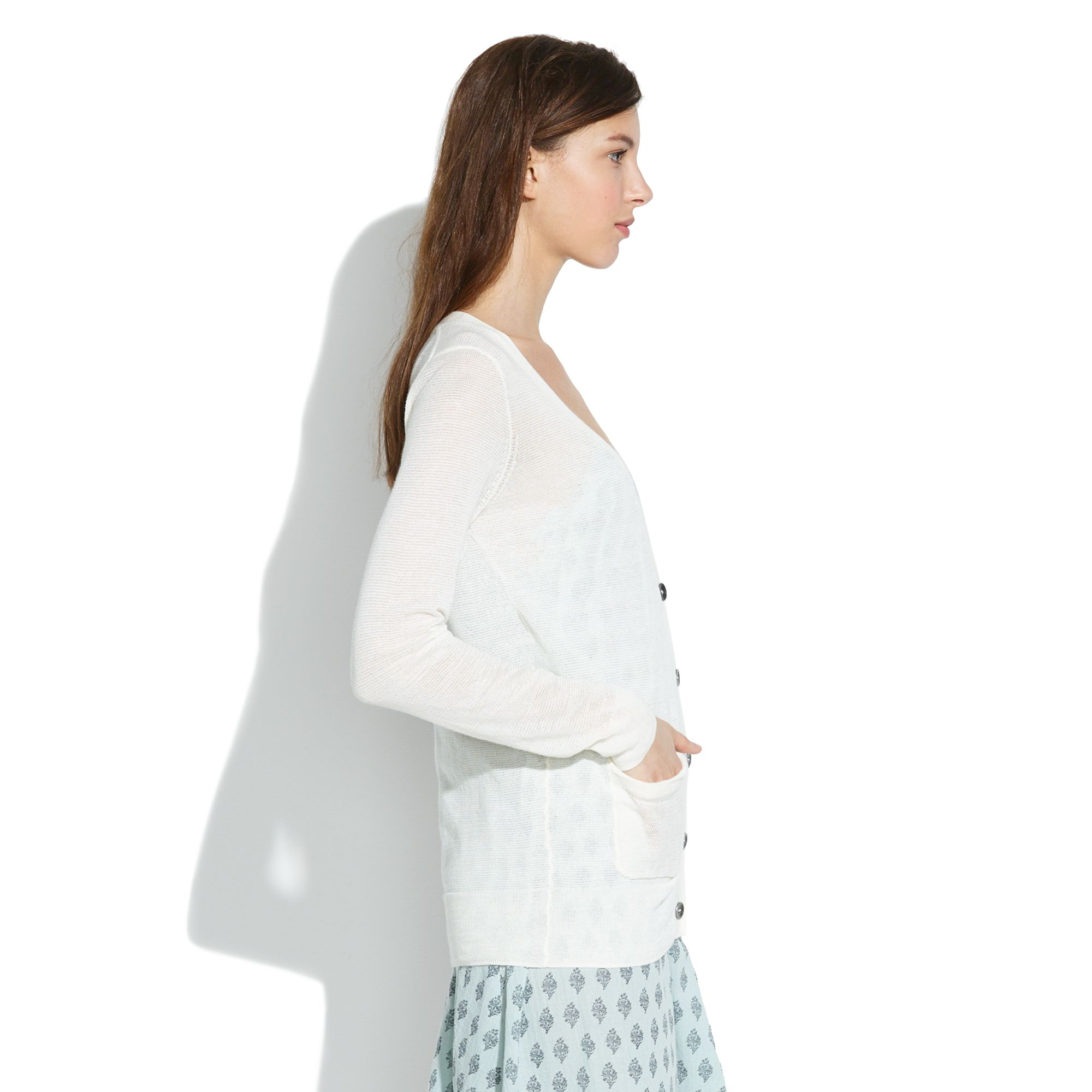 Madewell Summerweight Cardigan in White | Lyst