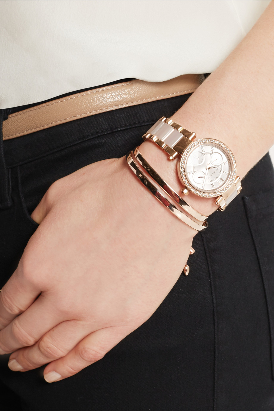 87b594fba9c6 Michael Kors Parker Rose Gold Tone White Watch - HD Image Flower and ...
