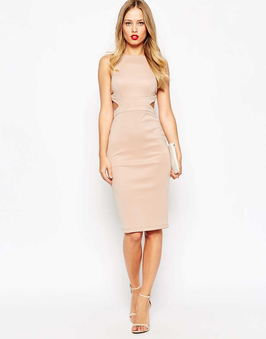 Lyst - ASOS Cut Out Back Bodycon Midi Dress in Natural a701f7685