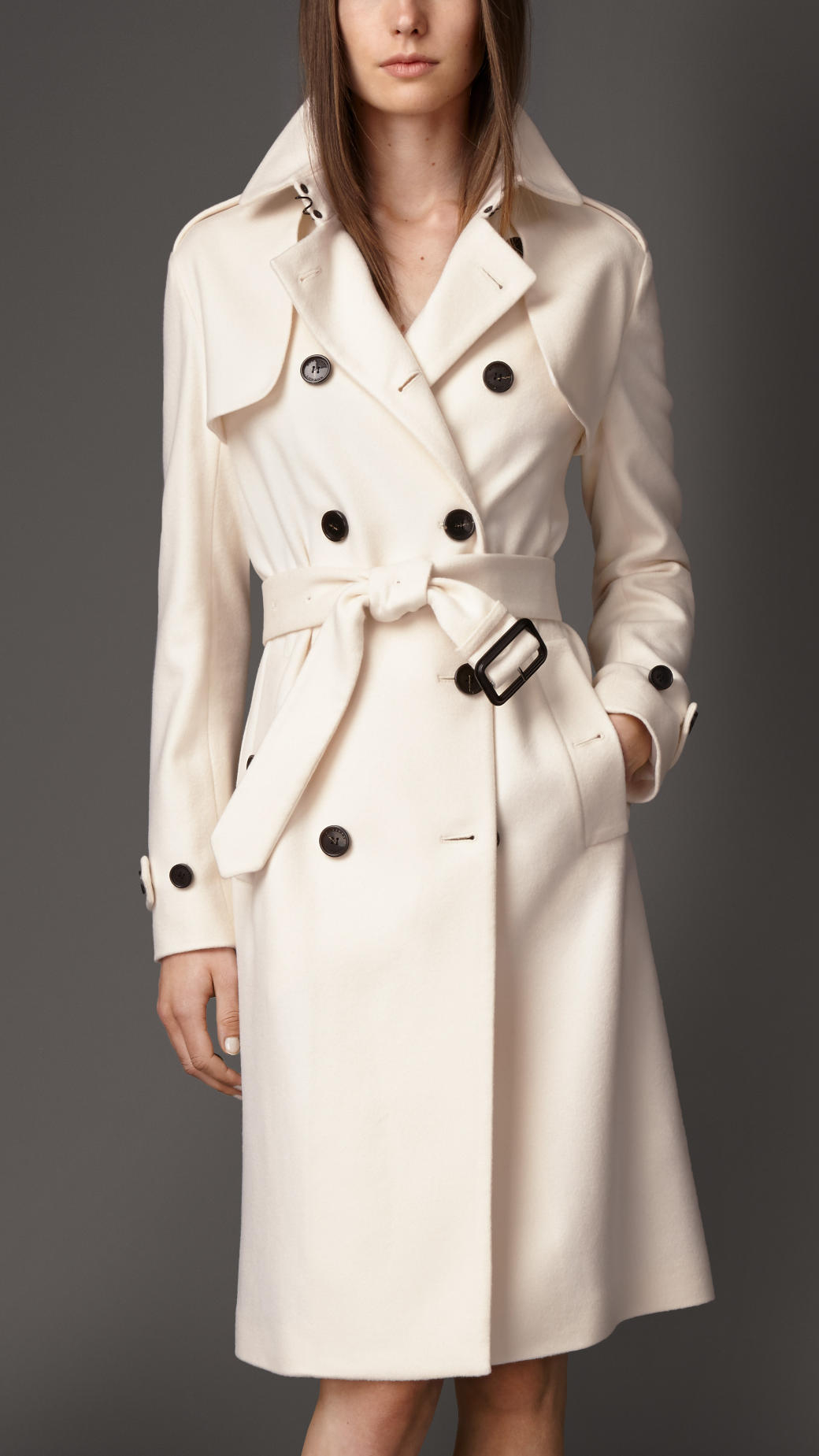 Burberry Long Double Cashmere Trench Coat in White | Lyst