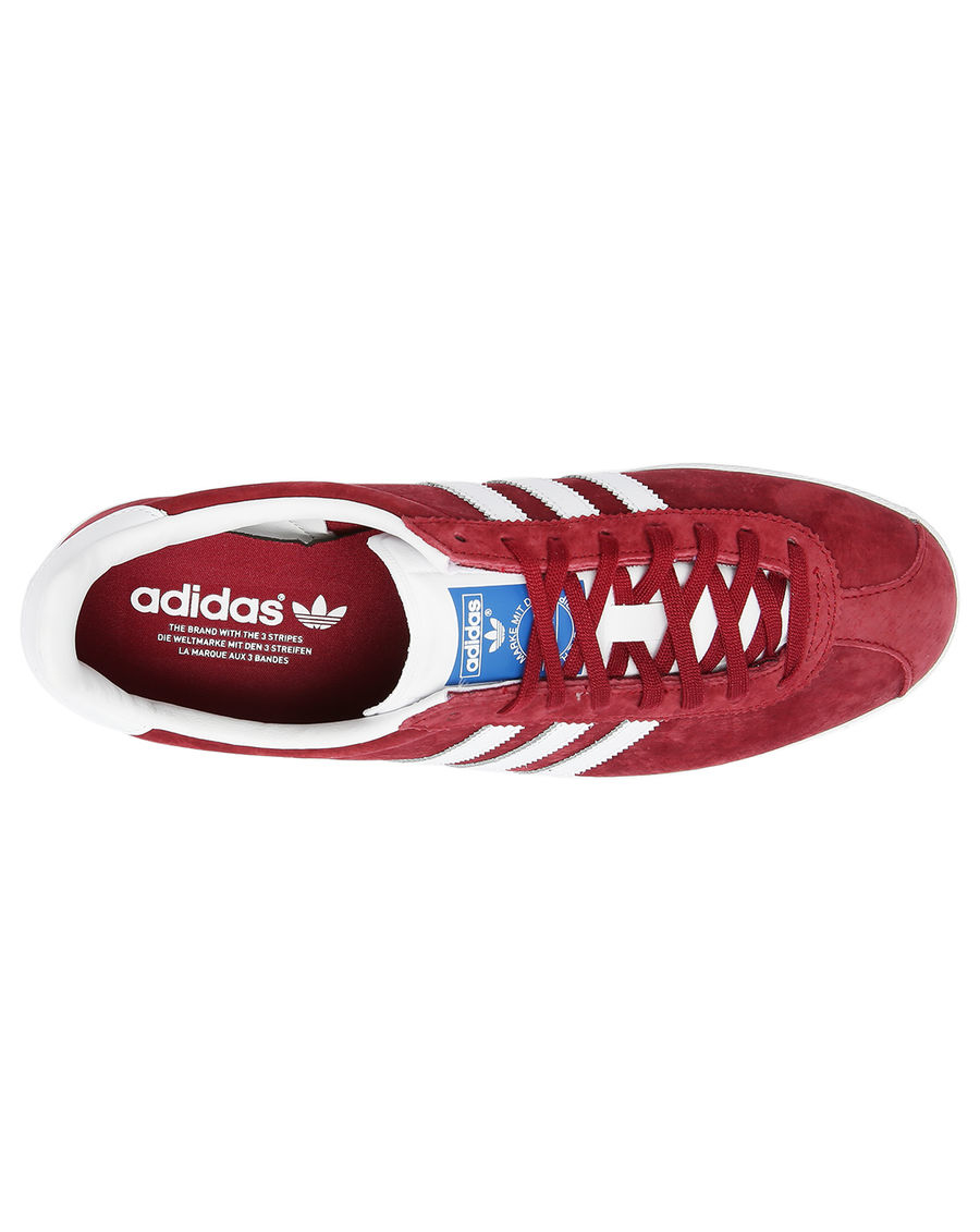 Adidas Gazelle Og Leather Trainers In Burgundy/White