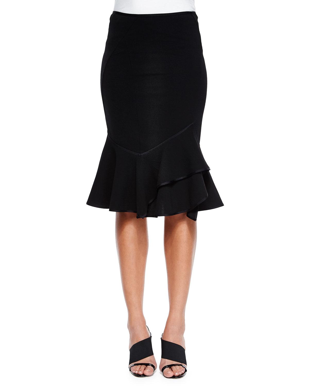 lyst donna karan layered flounce hem skirt in black. Black Bedroom Furniture Sets. Home Design Ideas