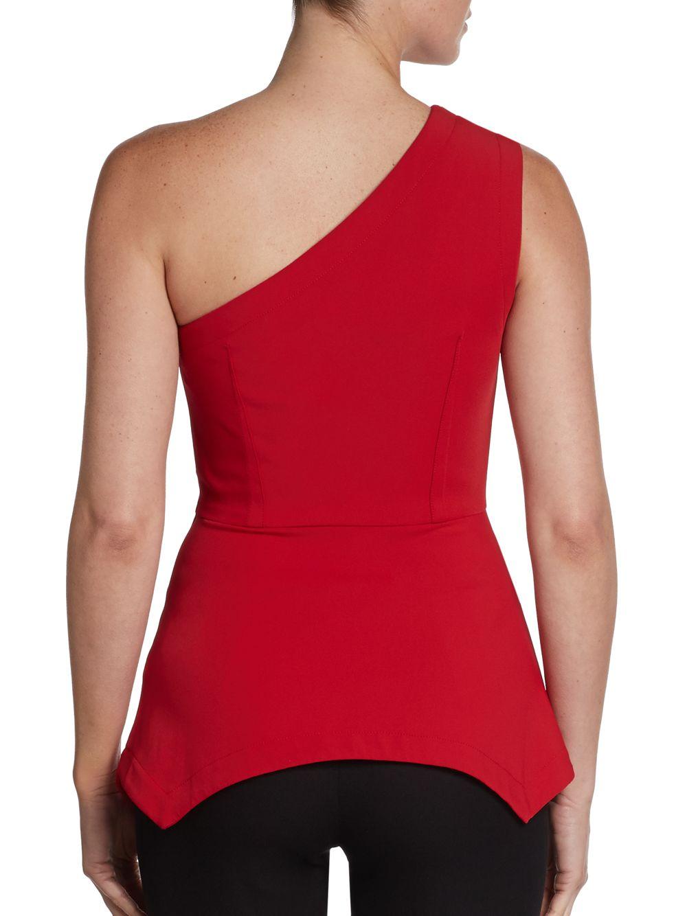 Red One Shoulder Peplum Top