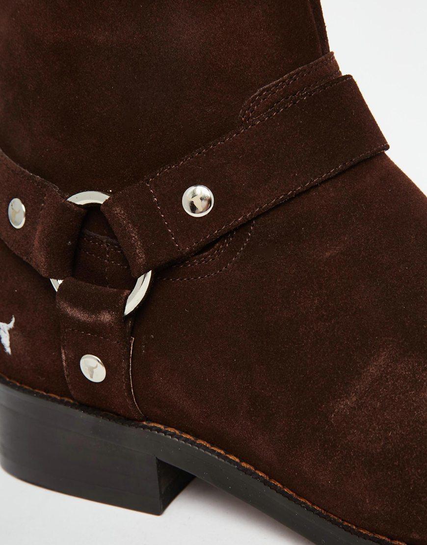 lyst windsor smith knightsbridge suede boots in brown for men. Black Bedroom Furniture Sets. Home Design Ideas