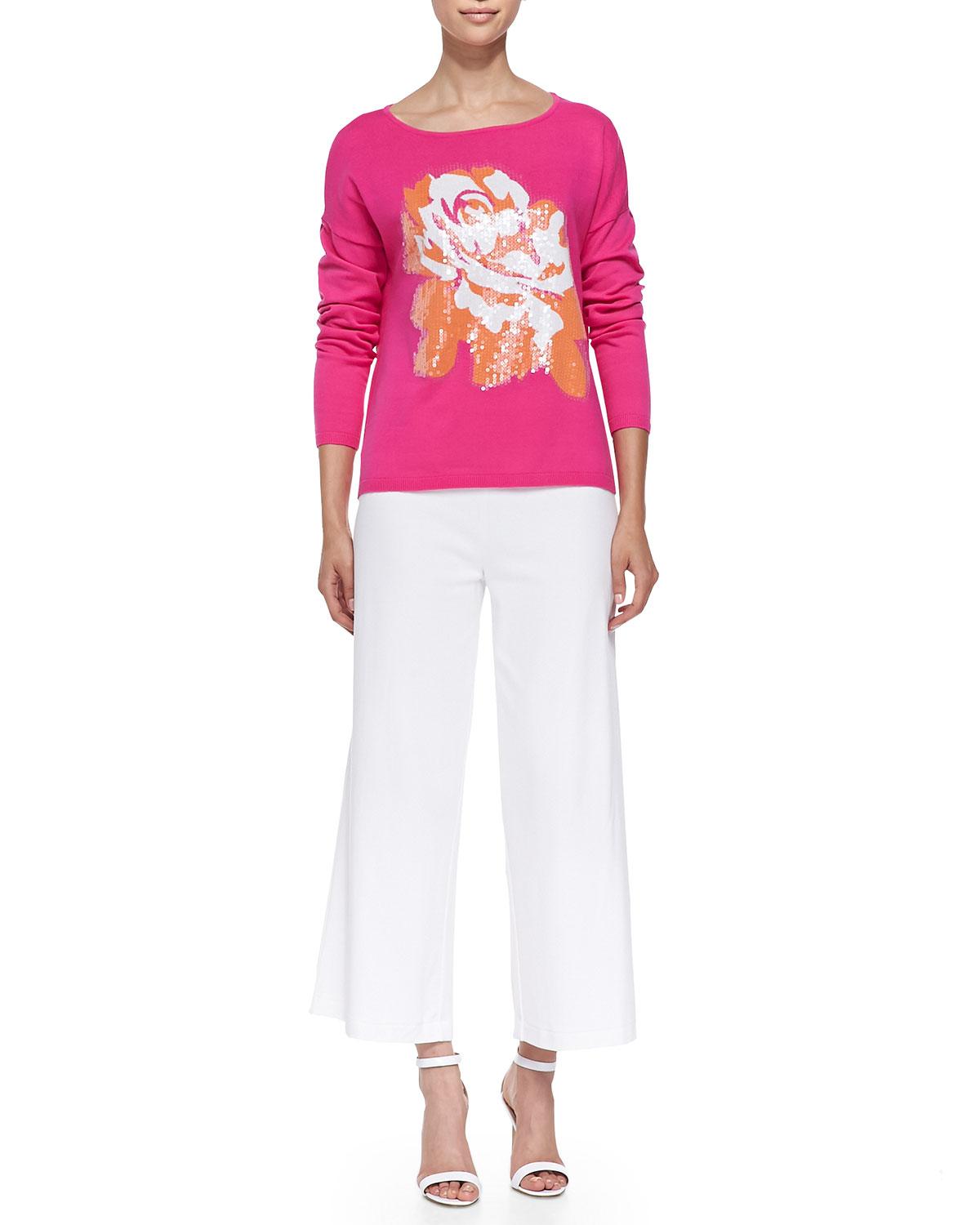Joan Vass Wide-leg Interlock Pants In White (BRIGHT WHITE