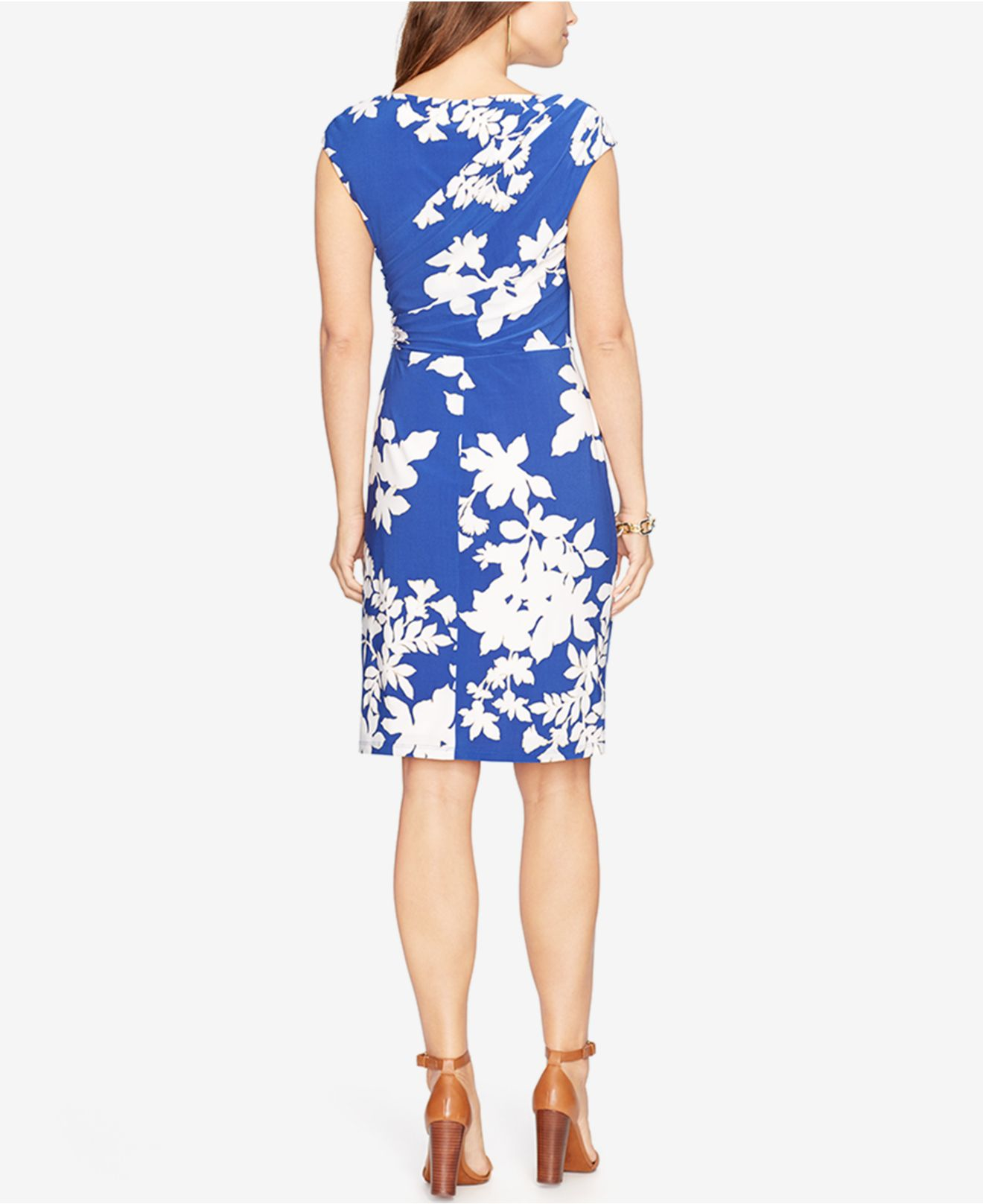 American Living Floral Print Jersey Dress In White Lyst