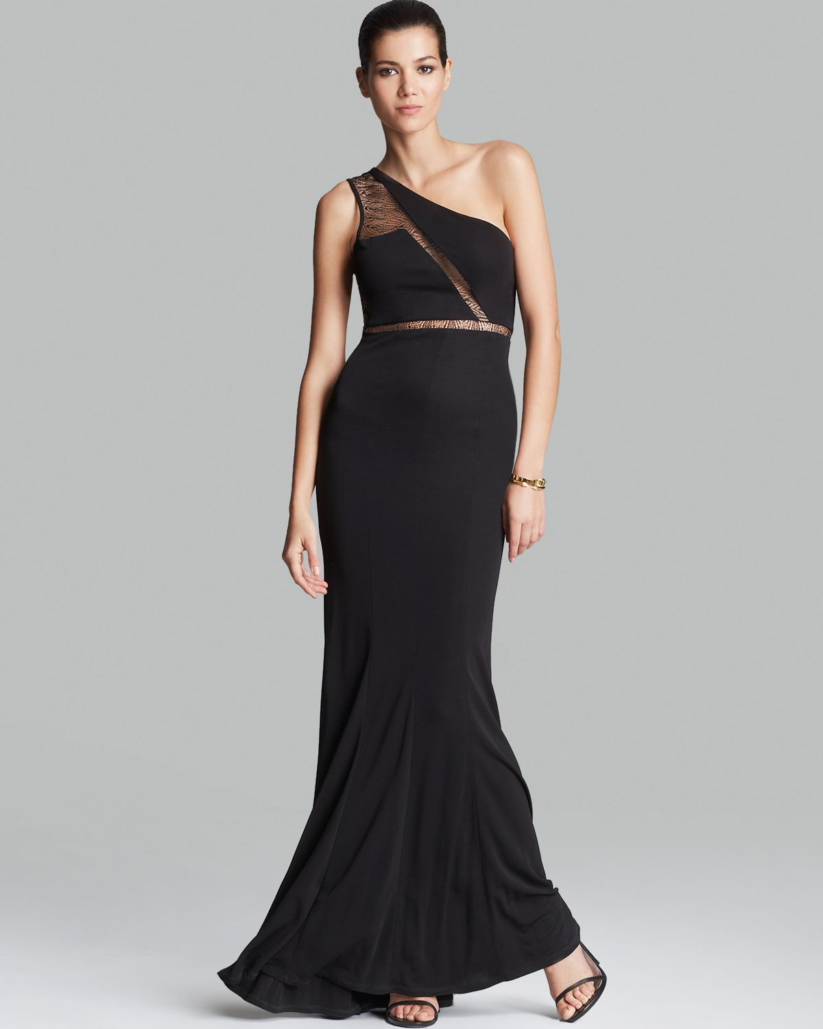 Lyst - Abs By Allen Schwartz Gown One Shoulder Mesh Lace Inset in Black