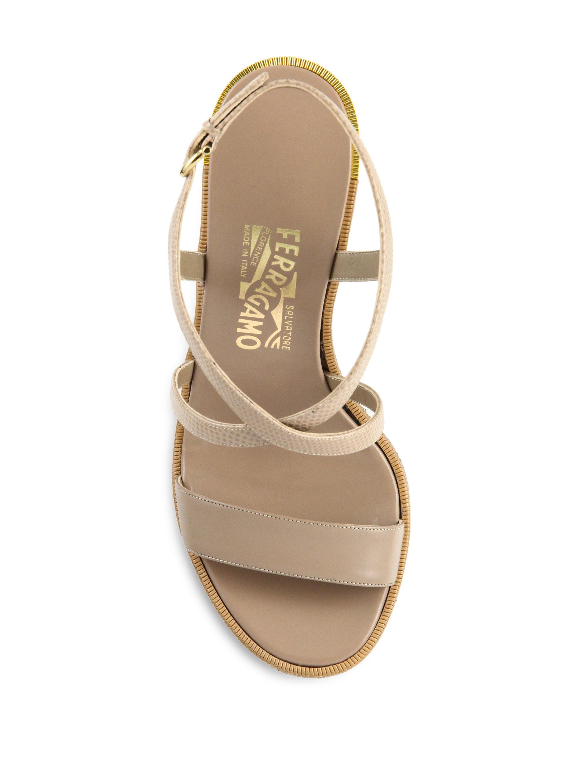 766e325dd128 Lyst - Ferragamo Gina Python-embossed Leather Platform Sandals in ...