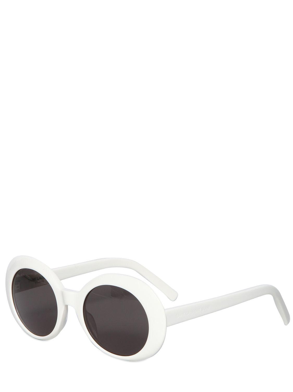 59e2a81545b Lyst - Saint Laurent Sl 98 Shiny Acetate Round Sunglasses in White ...