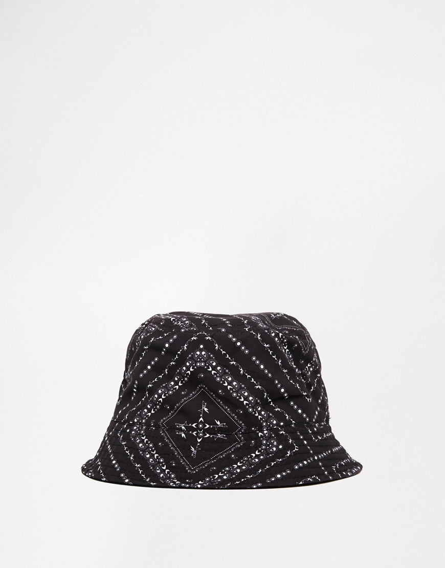 bfafd1d331a Lyst - ASOS Bucket Hat In Black Bandana Print in Black for Men