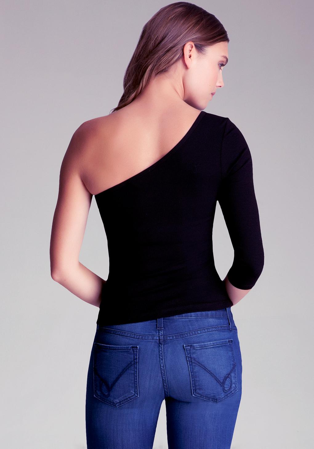 4fd65cd0f6d Bebe One Shoulder Top in Black - Lyst