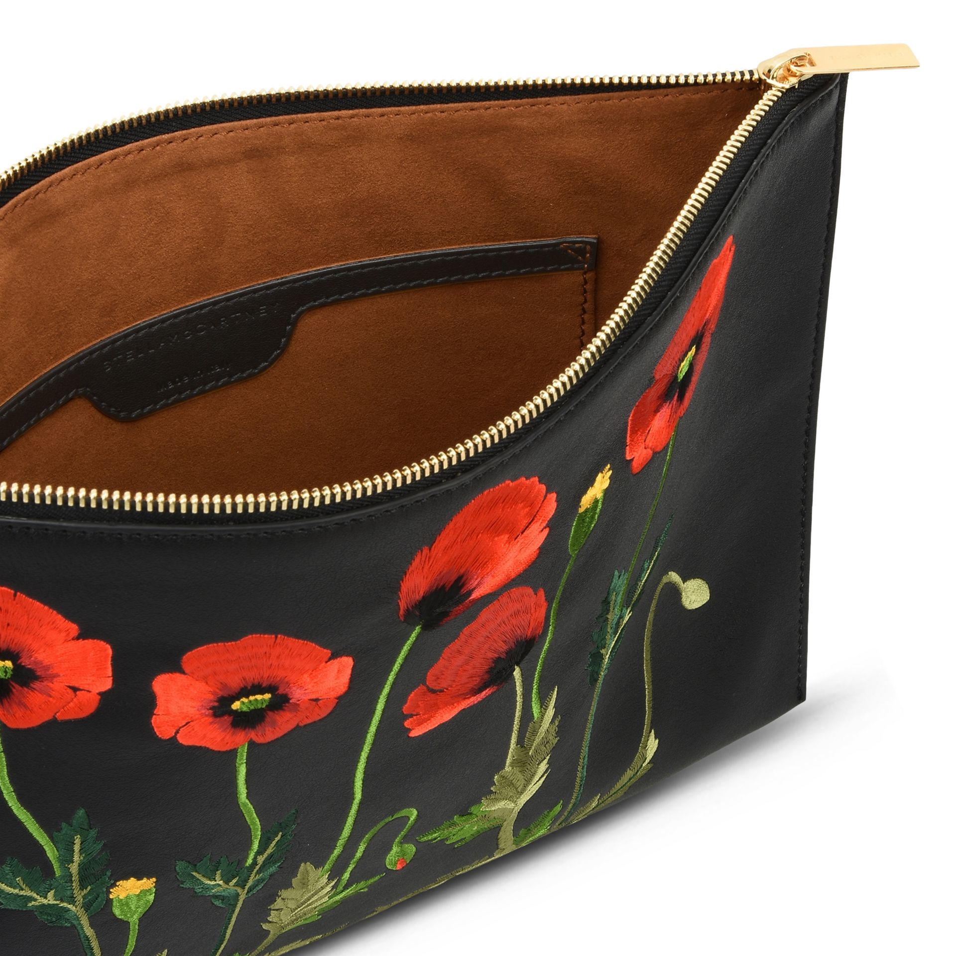 Stella mccartney Botanical Embroidery Clutch Bag in Black | Lyst