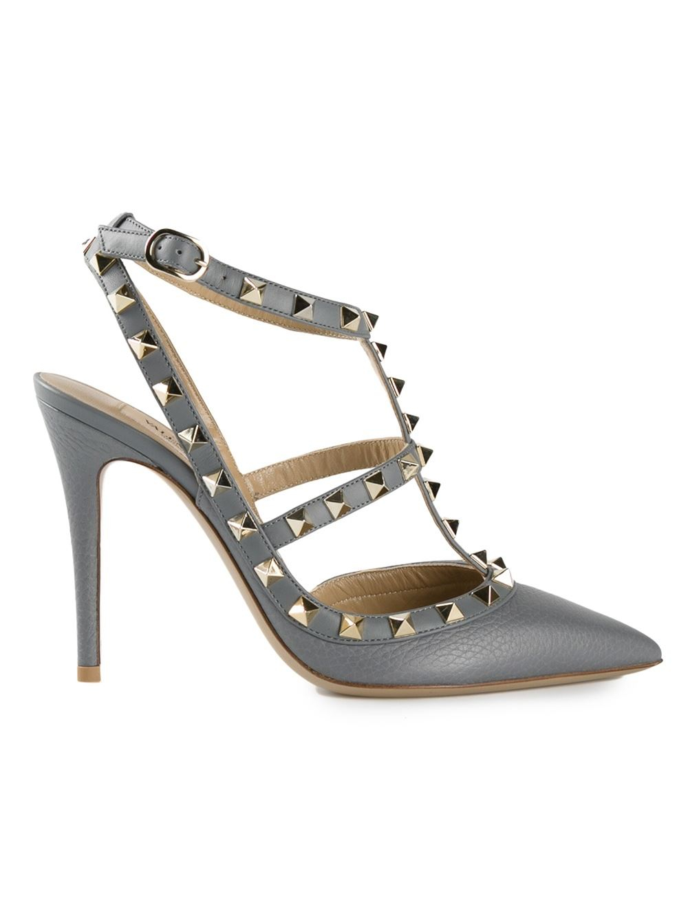 valentino rockstud pumps in gray grey lyst. Black Bedroom Furniture Sets. Home Design Ideas
