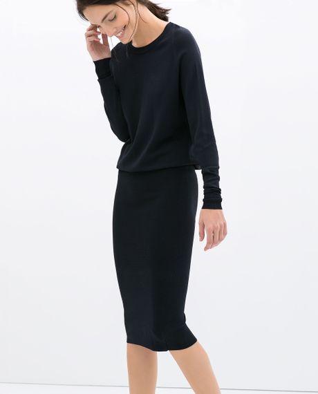 Zara Navy Blue Dress With Pencil Skirt 42