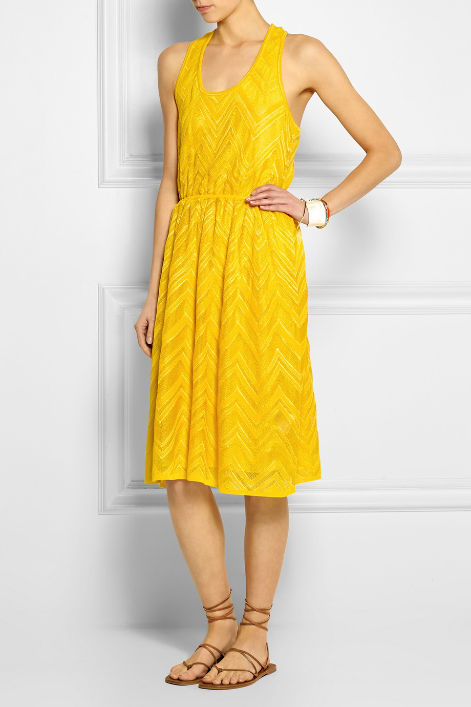 01461c59b59a M Missoni Racer-Back Zigzag Crochet-Knit Dress in Yellow - Lyst