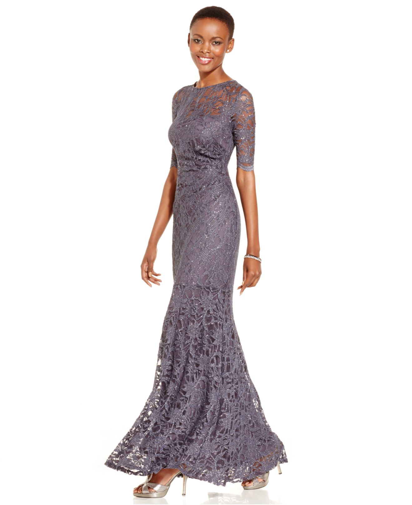 Lyst - Xscape Petite Glitter Lace Mermaid Gown in Metallic