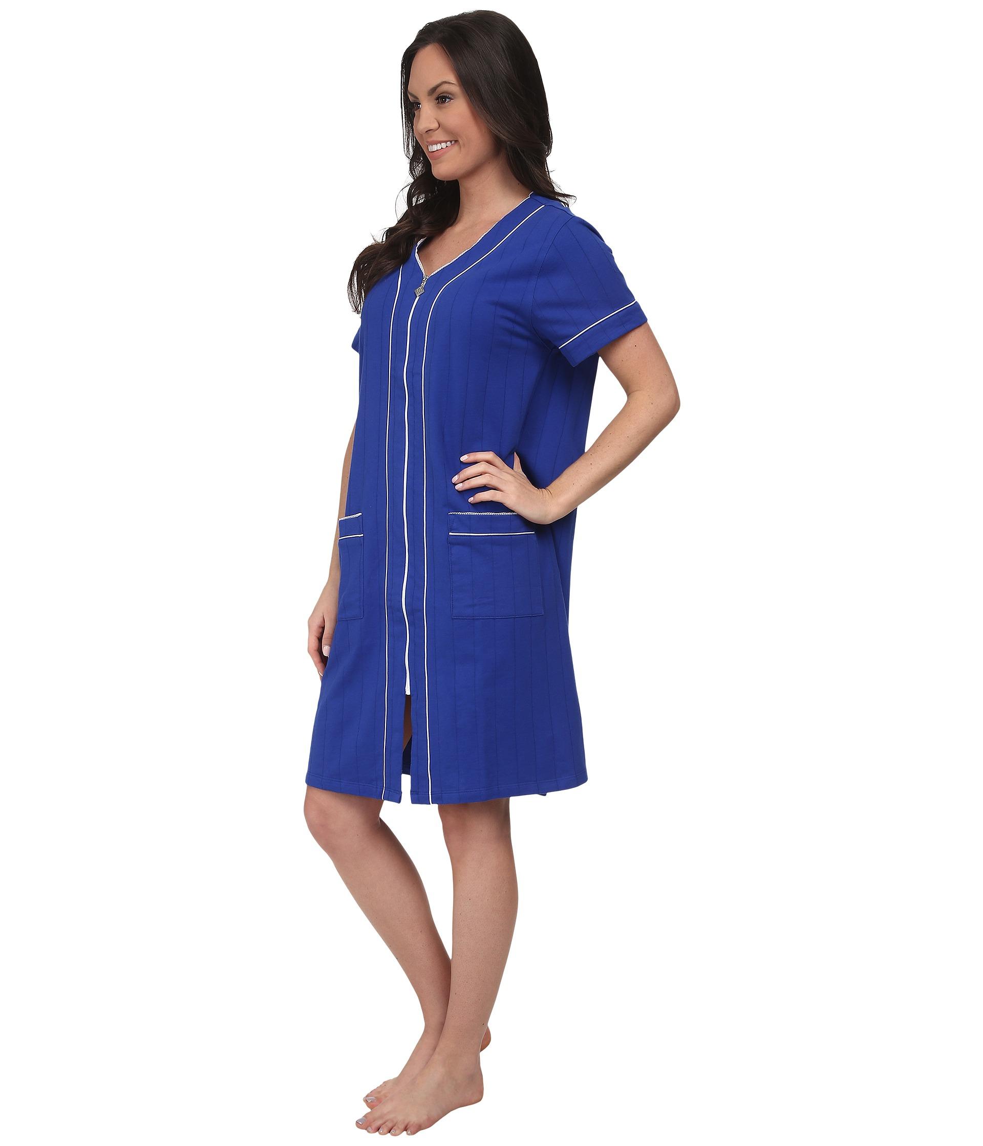 Lyst - Eileen West Classic Robes Short Zip Robe in Blue