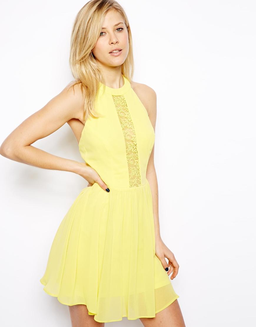 Lyst Asos Lace Insert Halter Skater Dress In Yellow
