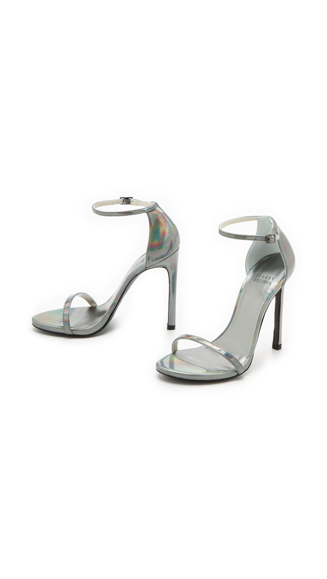 4bea71ee87aca Stuart Weitzman Nudist Sandals - Pewter in Metallic - Lyst