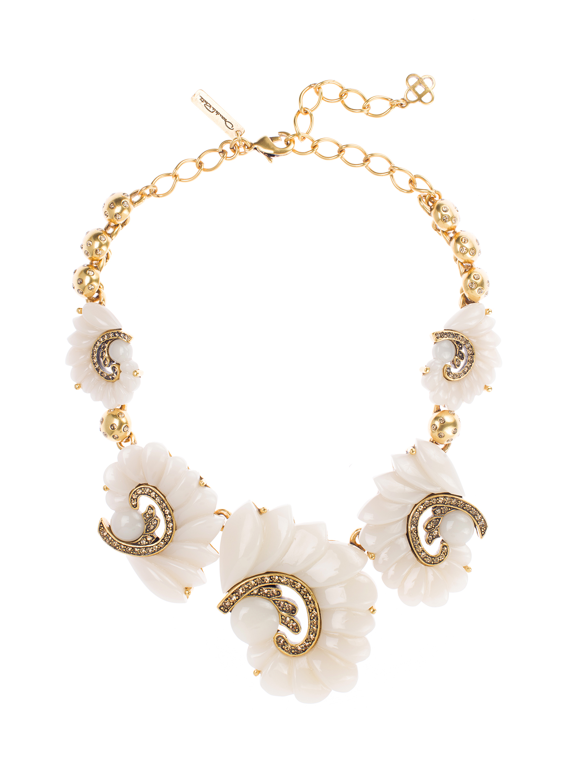 c4fdf07c7404f Lyst - Oscar de la Renta Resin Swirl Scalloped Necklace in Metallic